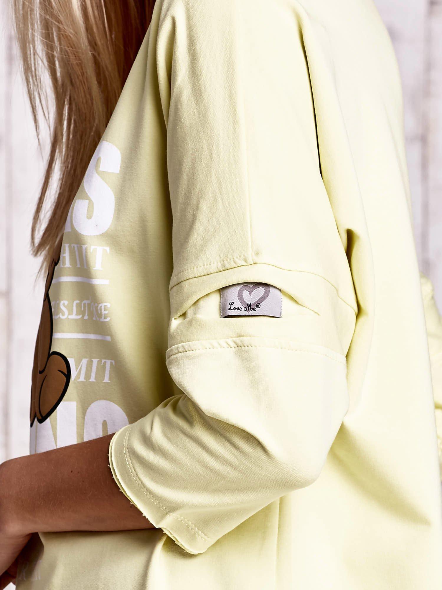 Żółta bluzka oversize z nadrukiem i surowym wykończeniem                                  zdj.                                  5