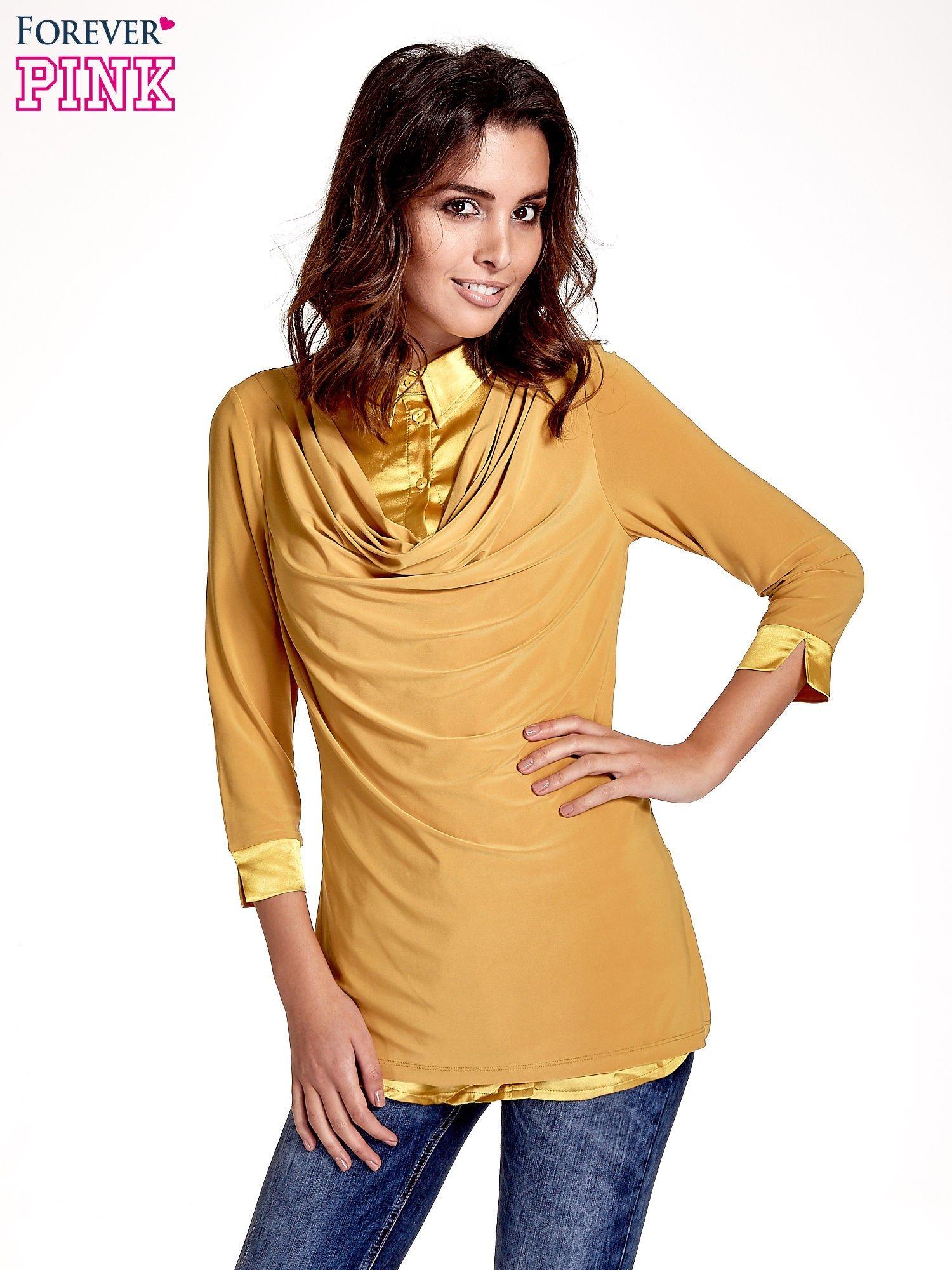 Żółta dwuwarstwowa koszula z rękawem 3/4                                  zdj.                                  1