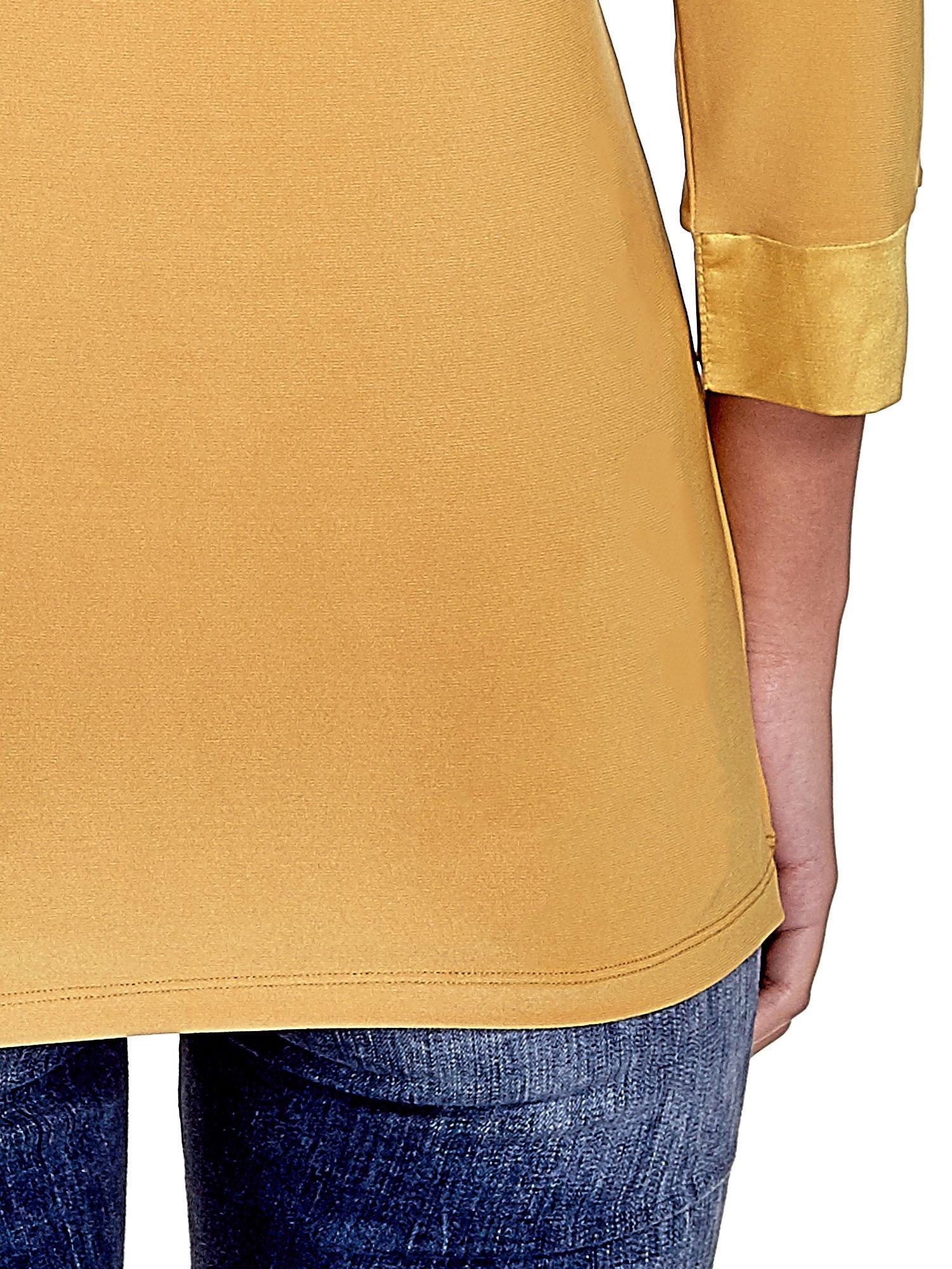 Żółta dwuwarstwowa koszula z rękawem 3/4                                  zdj.                                  7