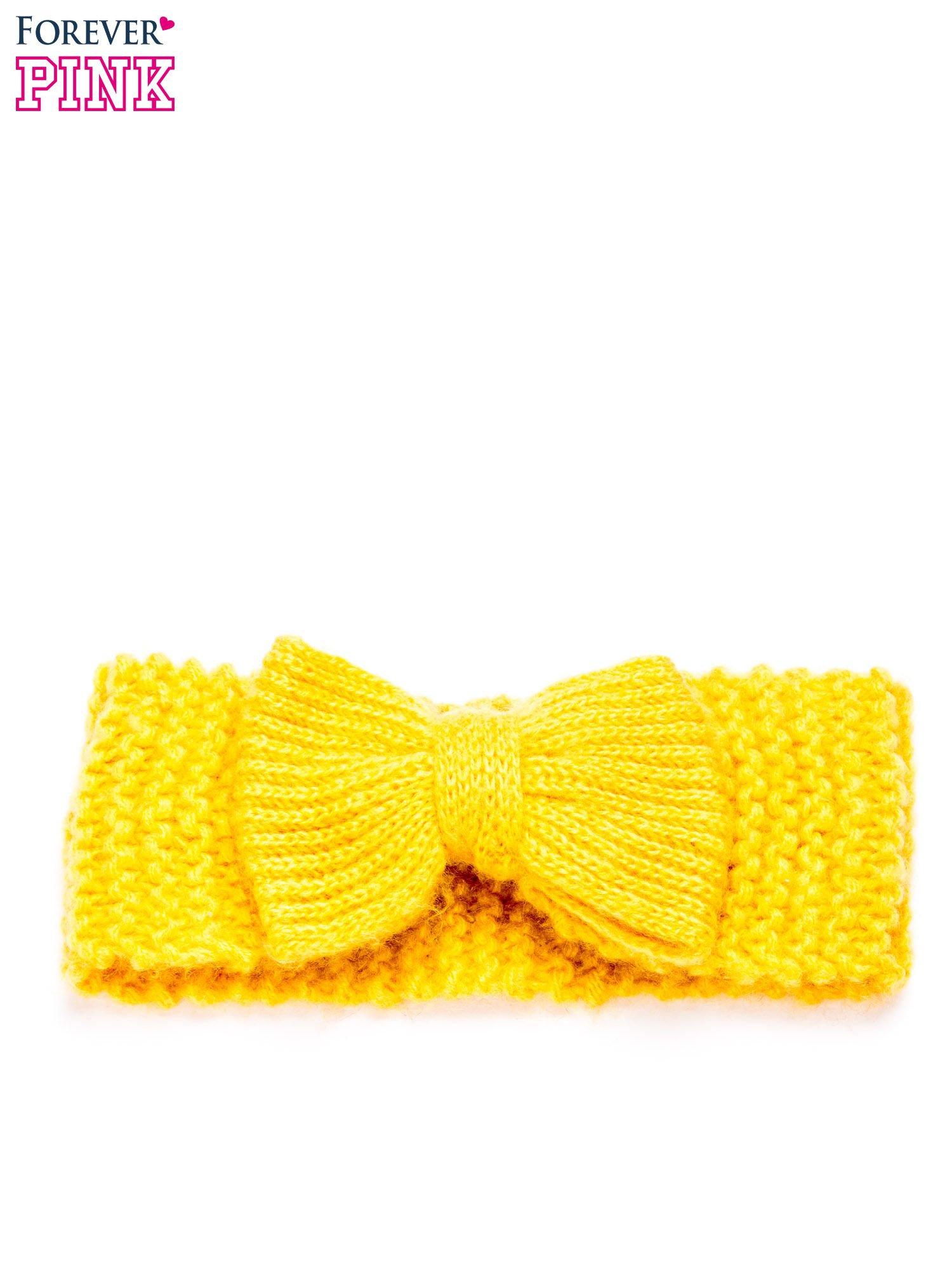 Żółta dzianinowa opaska z kokardą                                  zdj.                                  3