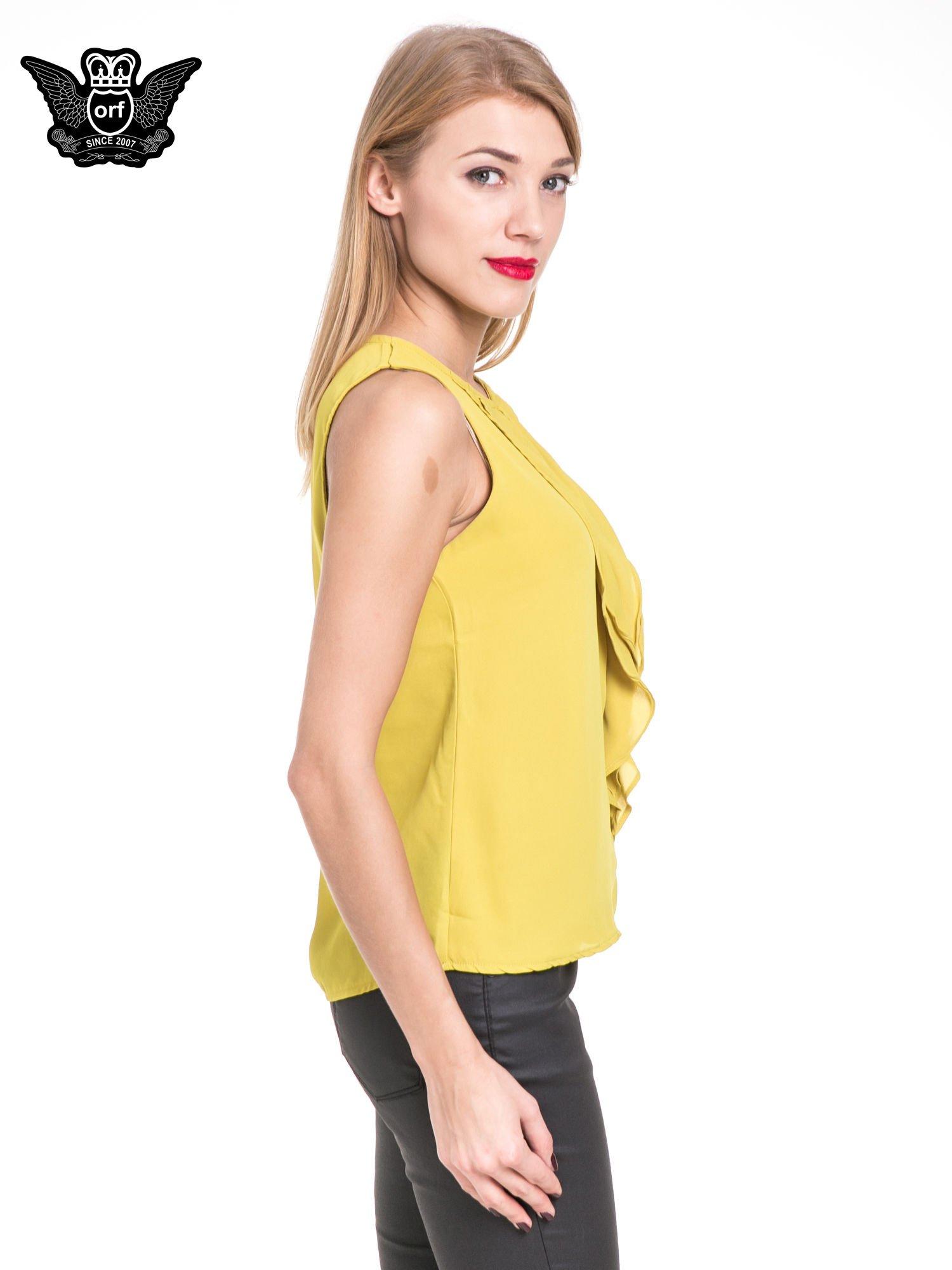 Żółta elegancka koszula z żabotem                                  zdj.                                  3