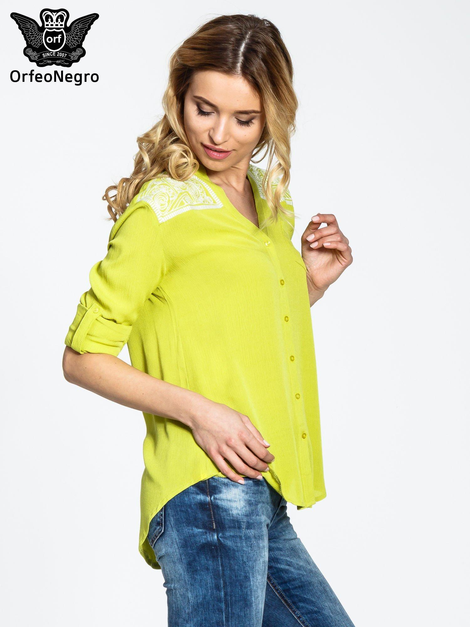 Żółta koszula damska z haftem na ramionach                                  zdj.                                  5