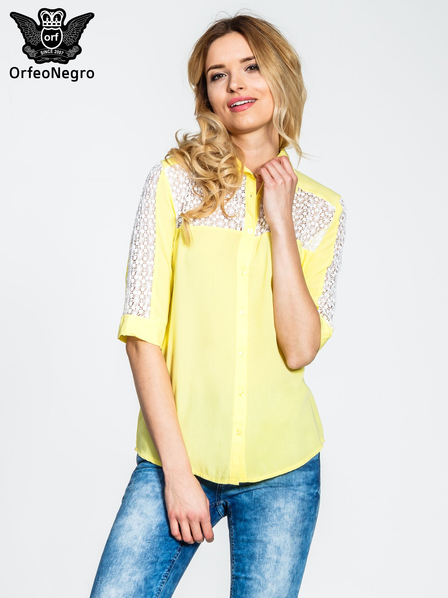 Żółta koszula z rękawem do łokcia i koronką                                  zdj.                                  1