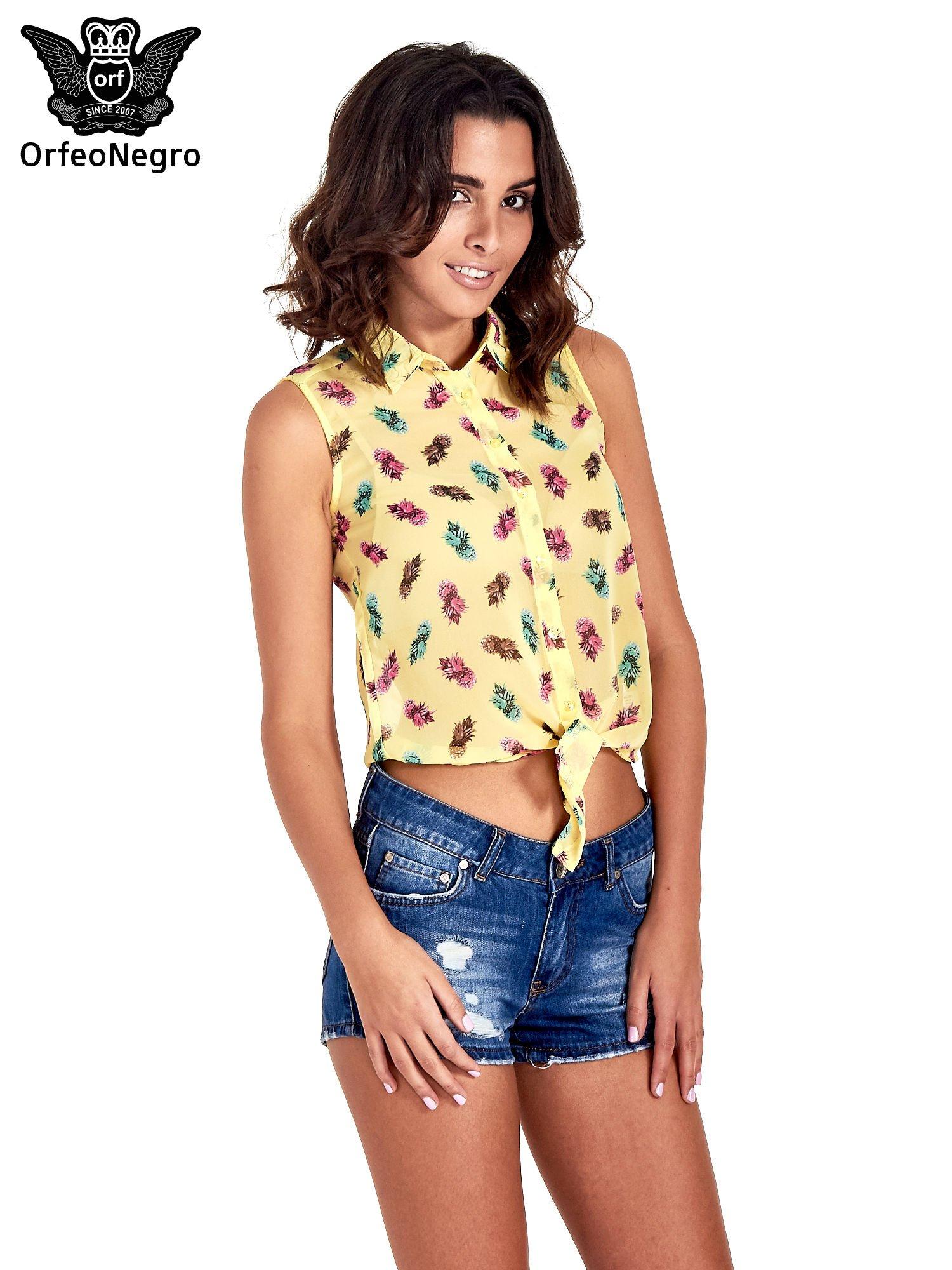 Żółta koszula z wiązaniem w ananasy                                  zdj.                                  1