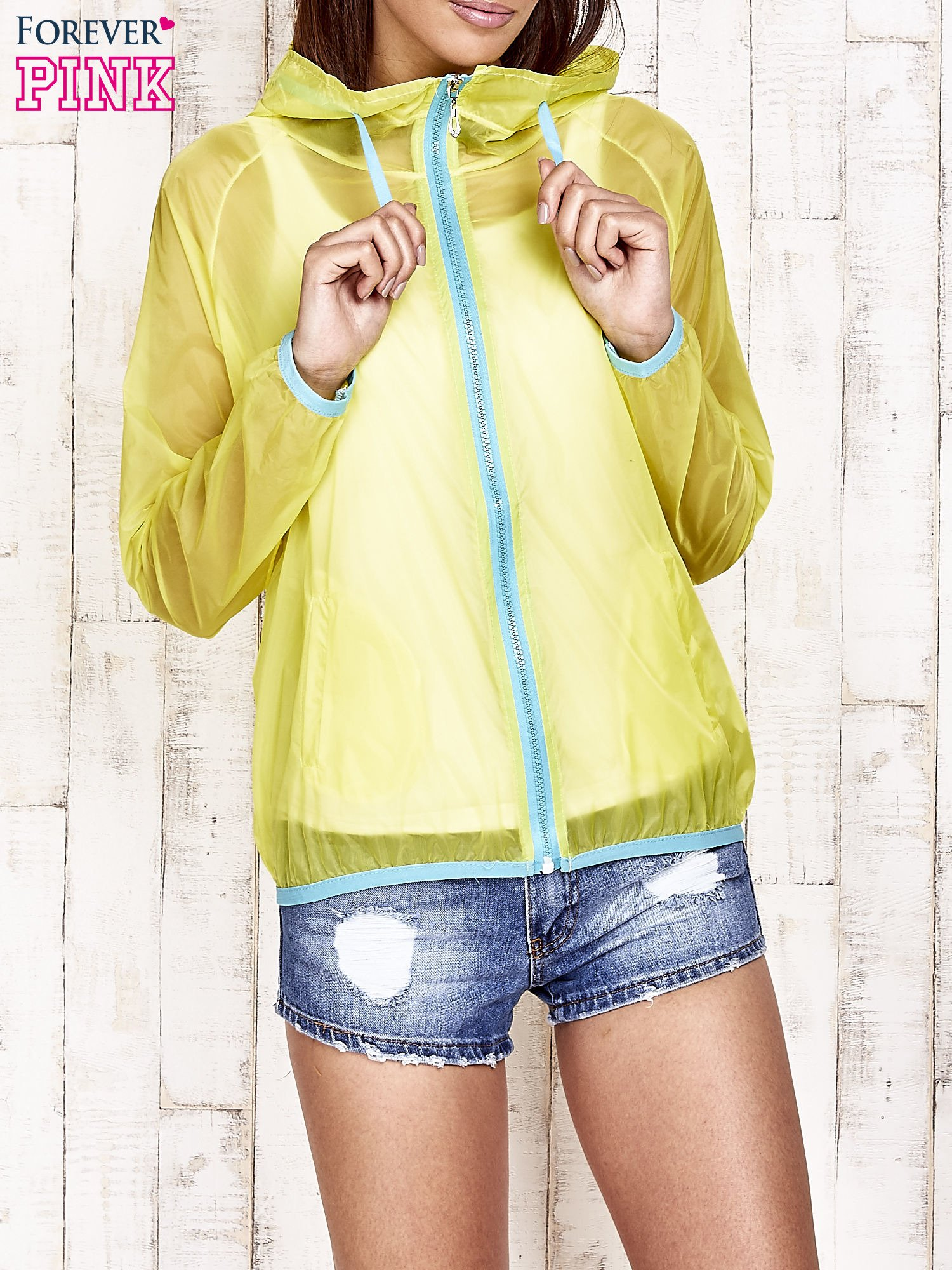 Żółta kurtka wiatrówka z niebieskim suwakiem                                  zdj.                                  4