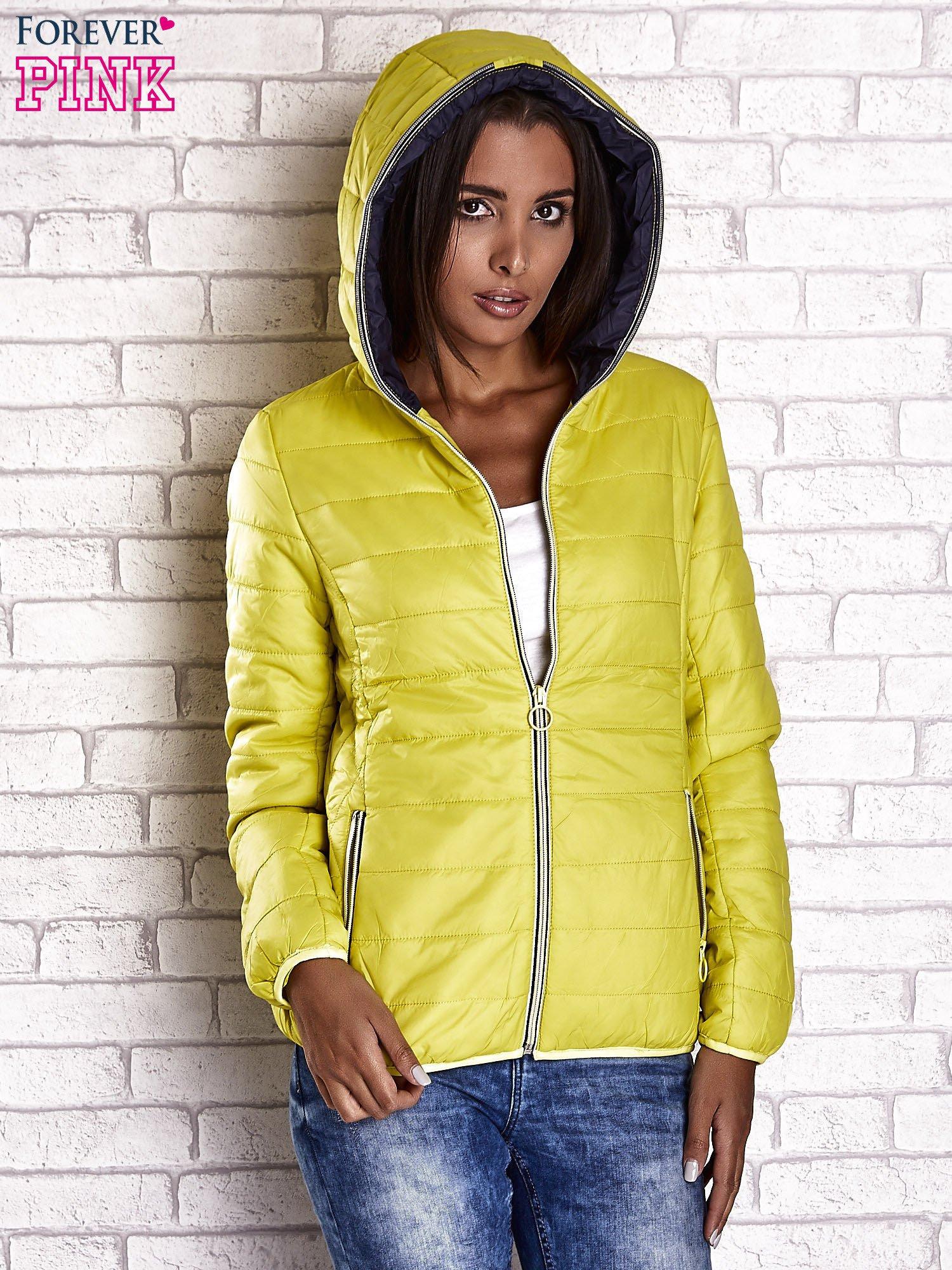 Żółta ocieplana kurtka z kontrastowym wykończeniem kaptura                                  zdj.                                  5