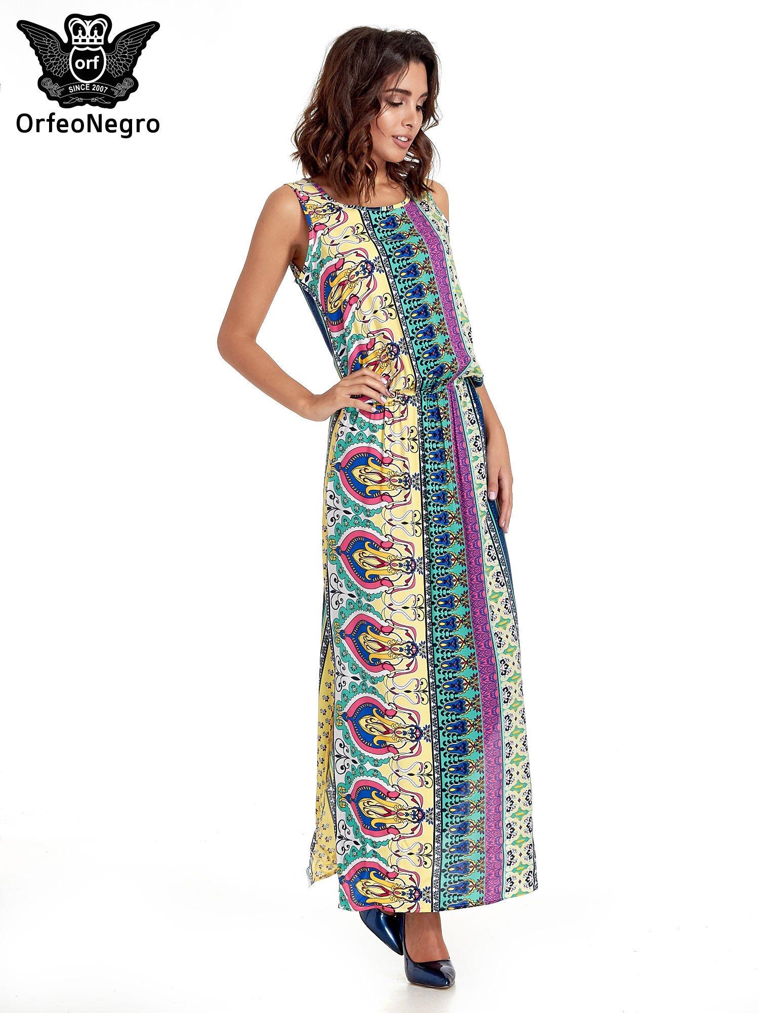 Zółta sukienka grecka w kwiatowe wzory                                  zdj.                                  3