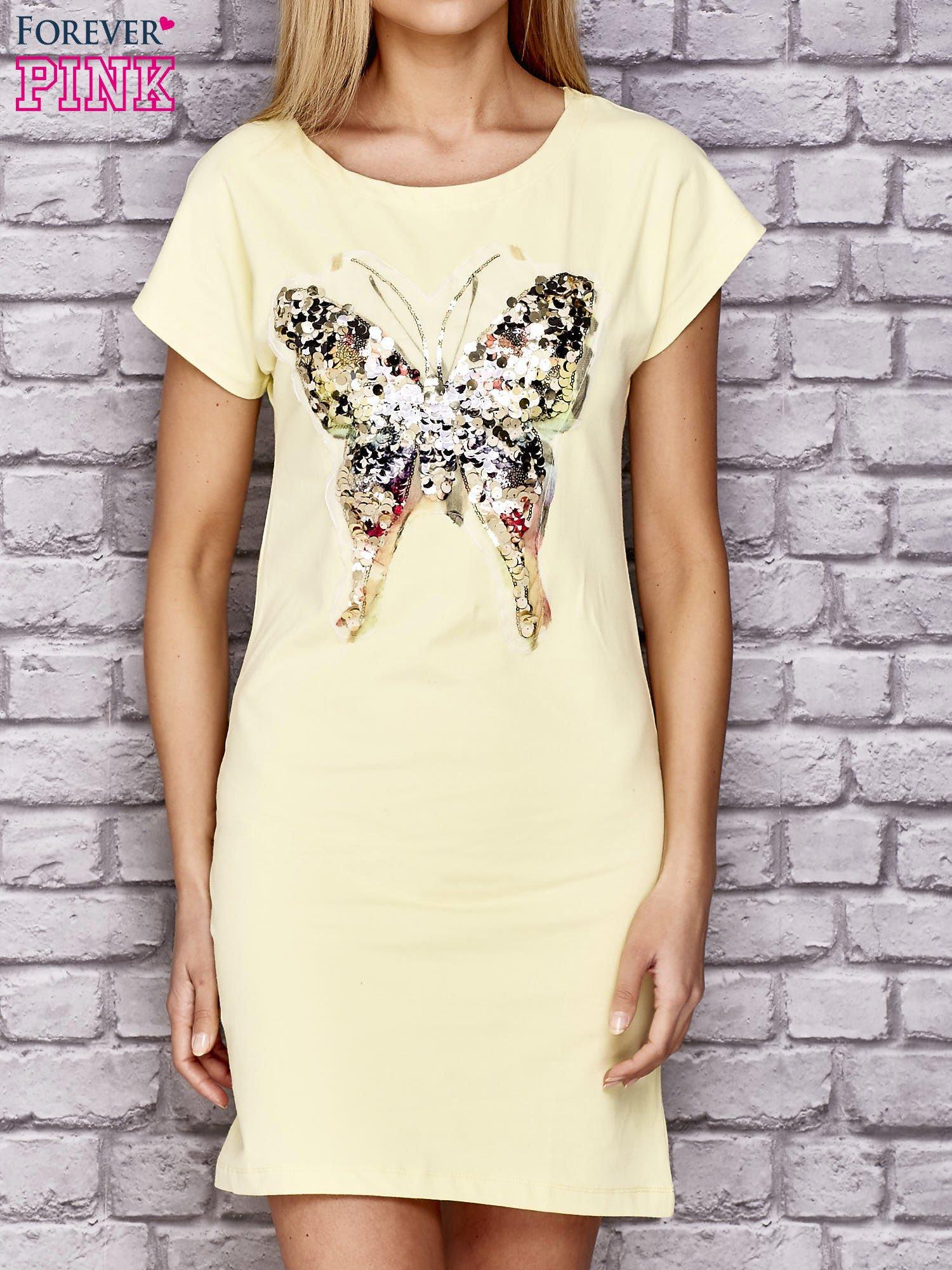 Żółta sukienka z cekinowym motylem                                  zdj.                                  1
