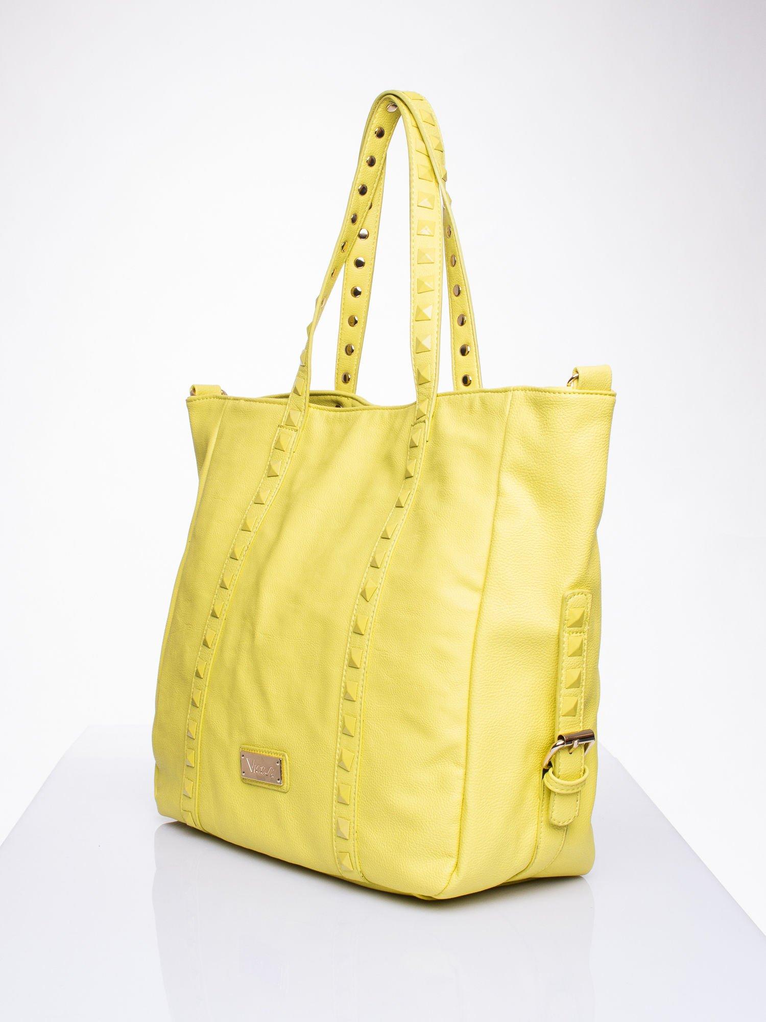 Żółta torba shopper z kolorowymi ćwiekami                                  zdj.                                  3