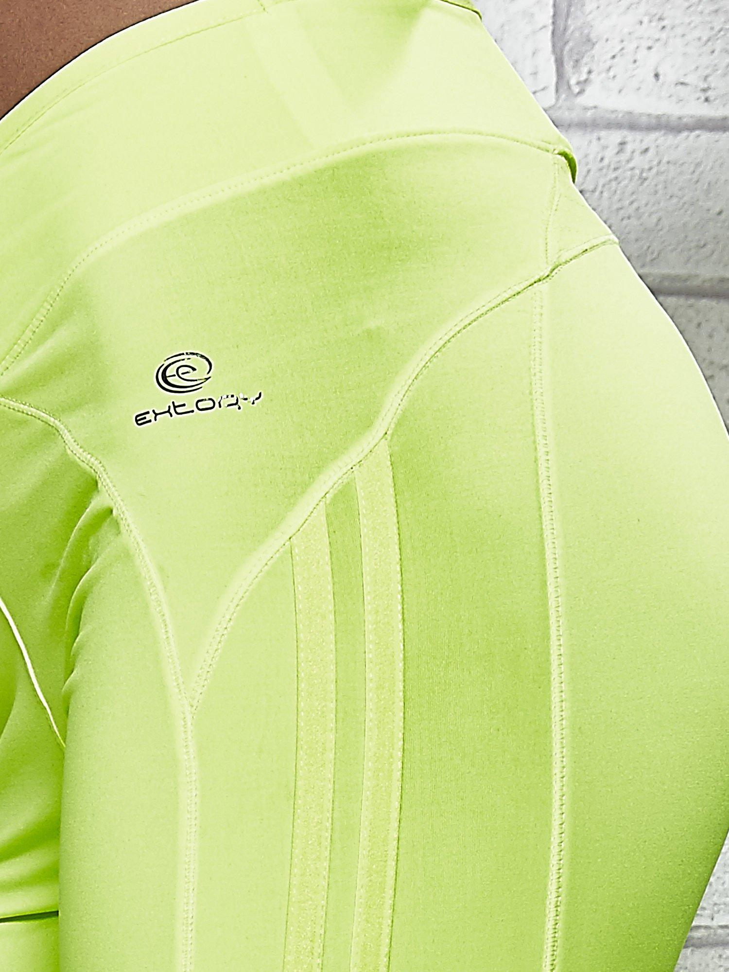 Żółte legginsy 3/4 sportowe termalne z lampasami                                  zdj.                                  7