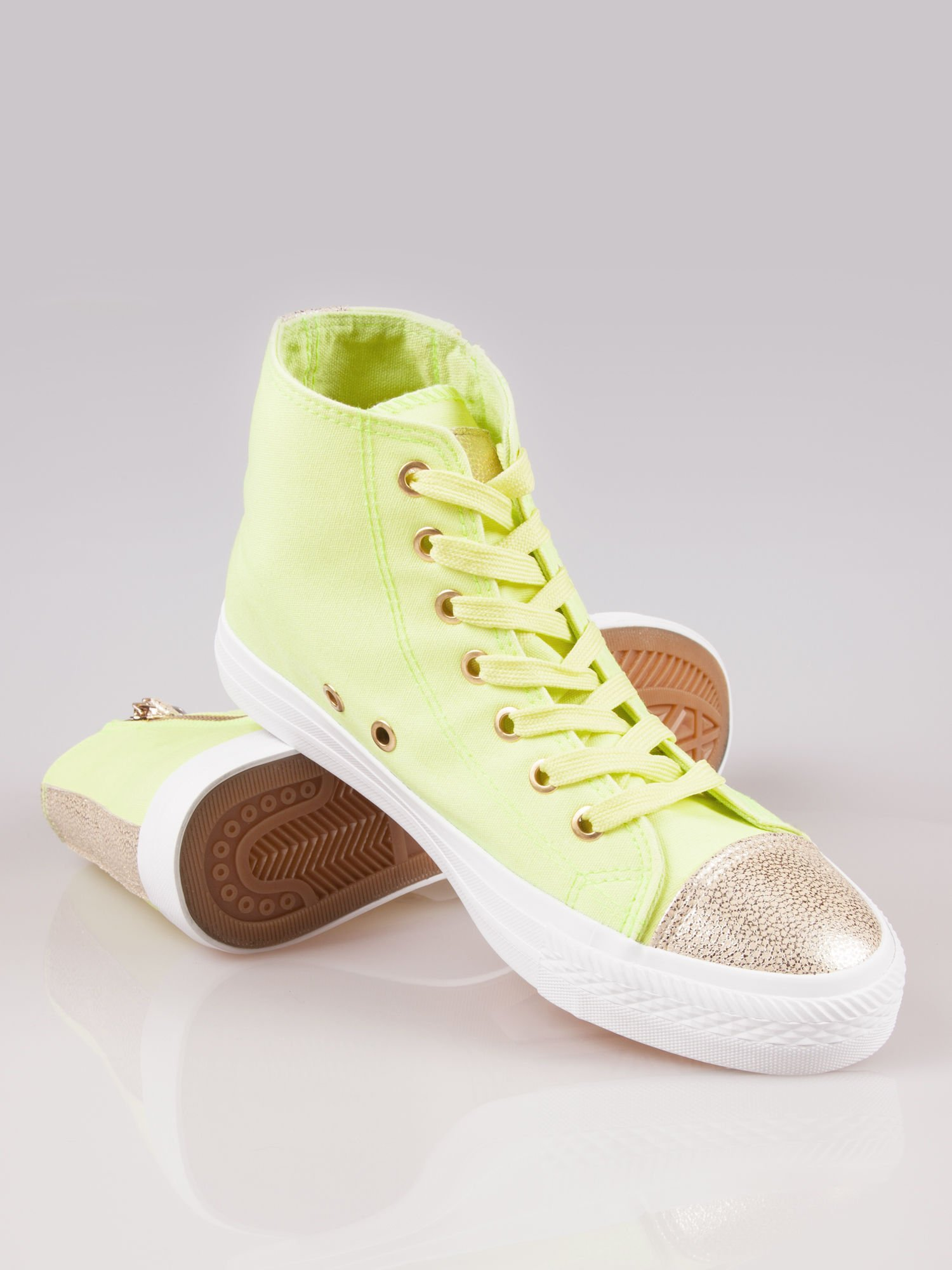 Żółte sneakersy gold cap toe Cody z suwakiem z boku                                  zdj.                                  4