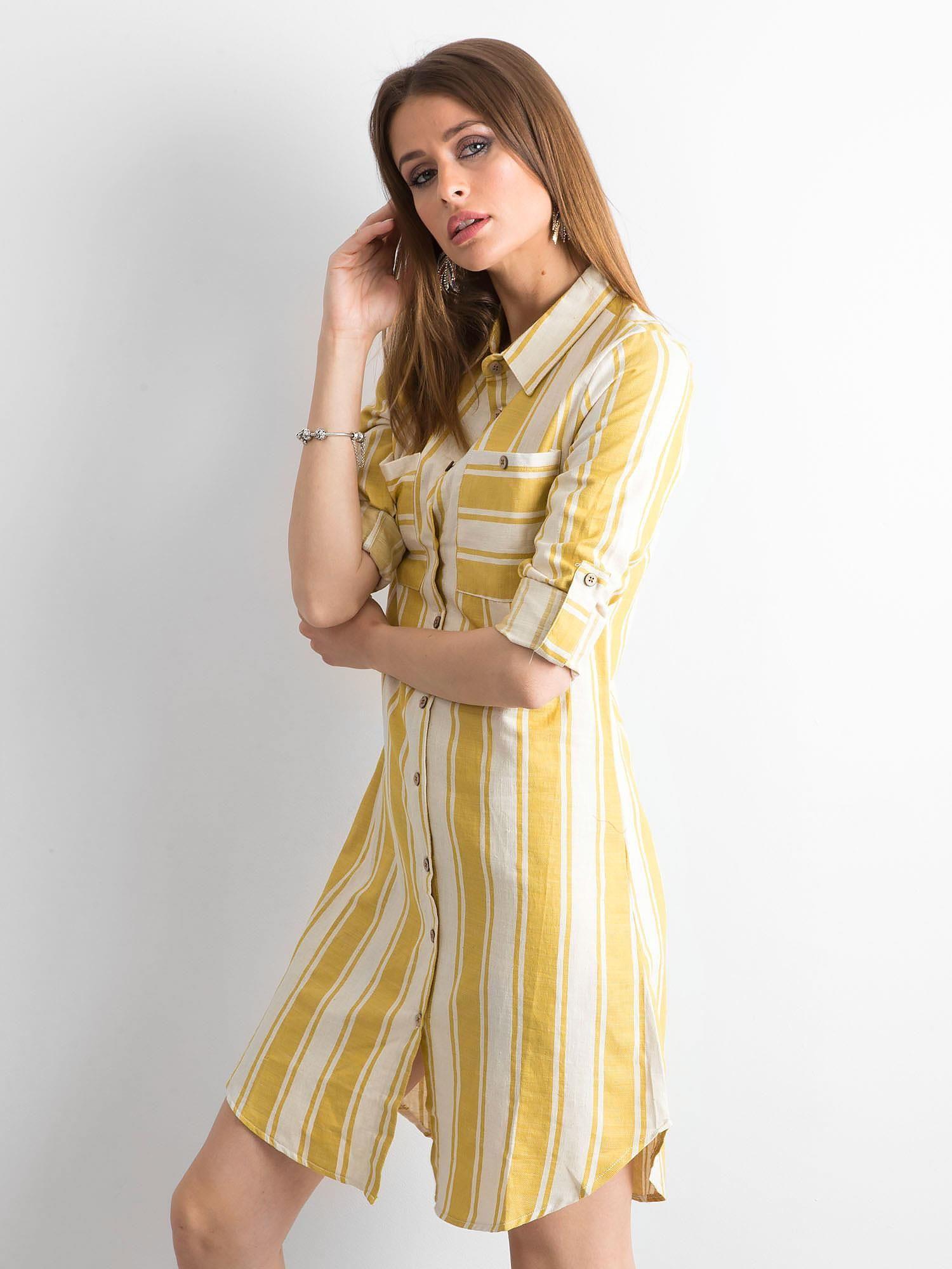 bc6a8fe19a Żółta sukienka szmizjerka w paski - Sukienka szmizjerka - sklep eButik.pl