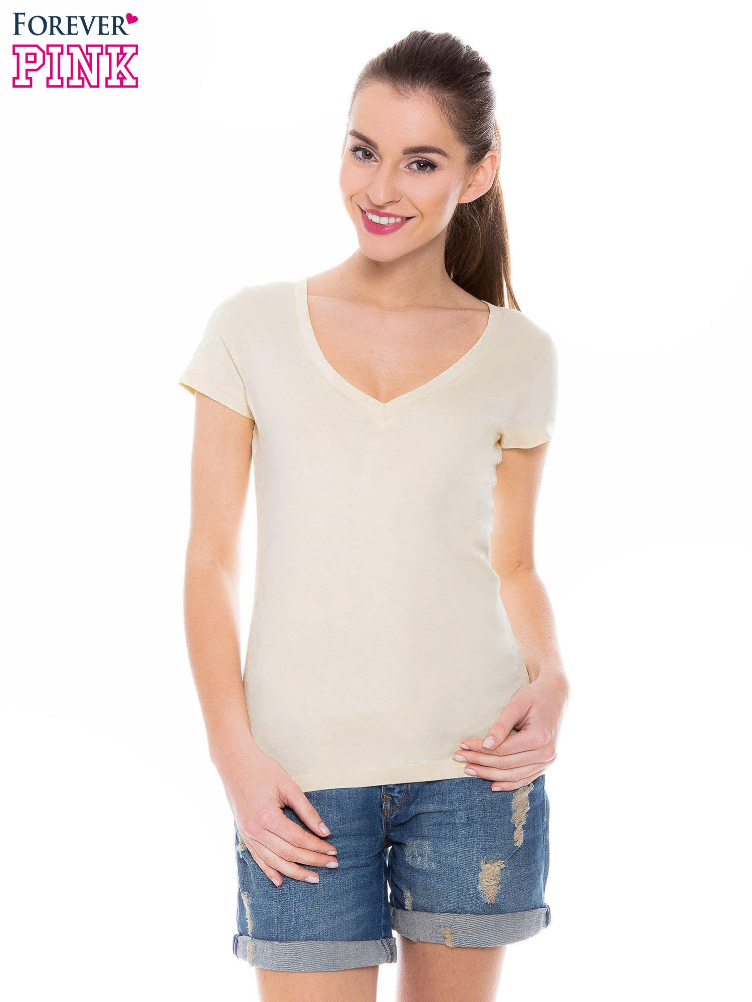 Żółty basicowy t-shirt z dekoltem w serek                                  zdj.                                  1
