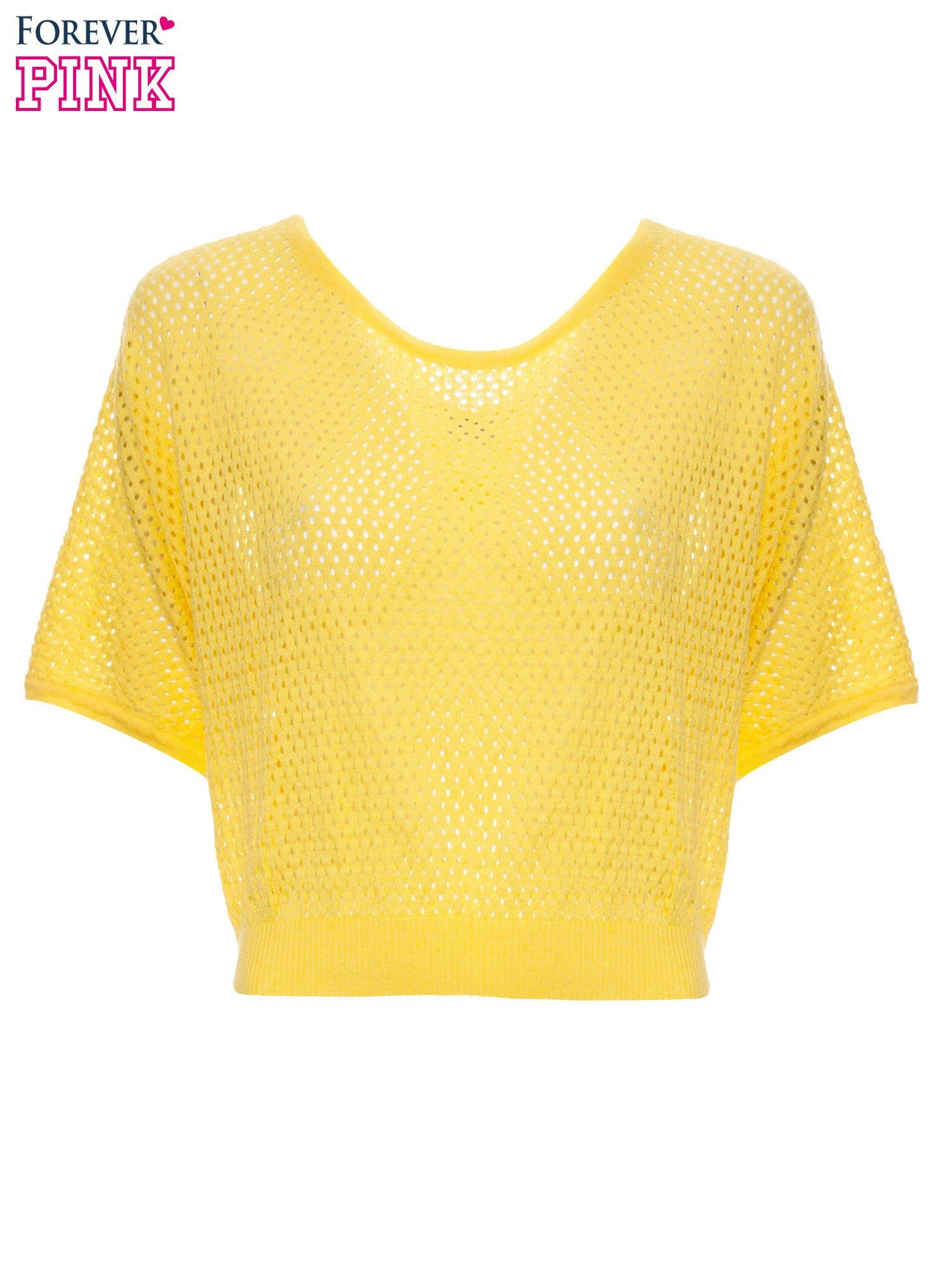 Żółty siateczkowy sweter oversize                                  zdj.                                  2