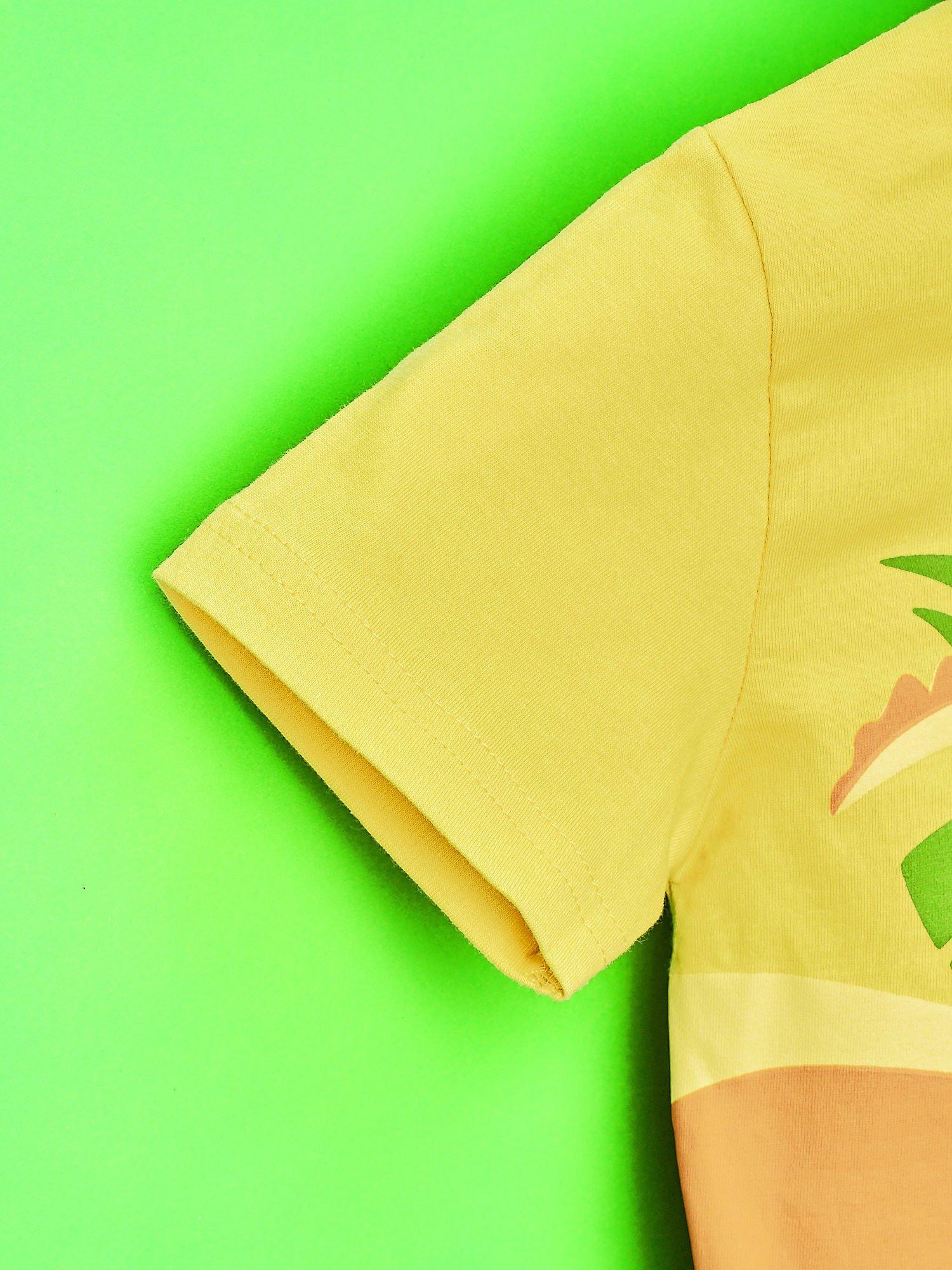Żółty t-shirt chłopięcy z nadrukiem KRÓL JULIAN                                  zdj.                                  6