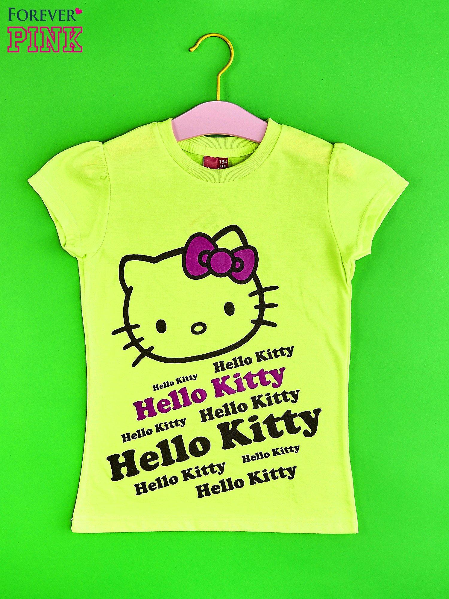 Żółty t-shirt dla dziewczynki HELLO KITTY z napisami                                  zdj.                                  1