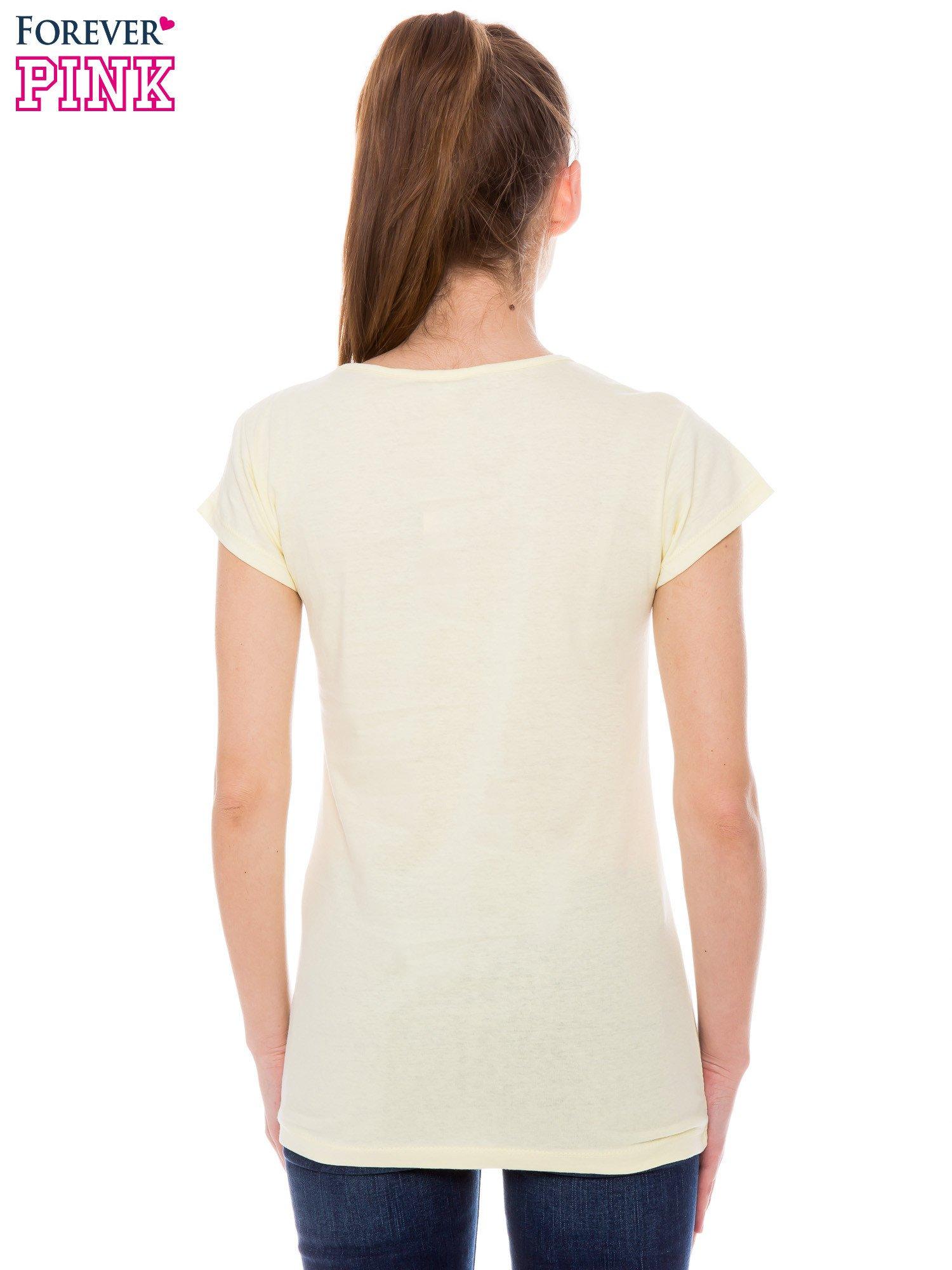 Żółty t-shirt z dziewczęcym nadrukiem ROUGH DENIM                                  zdj.                                  3