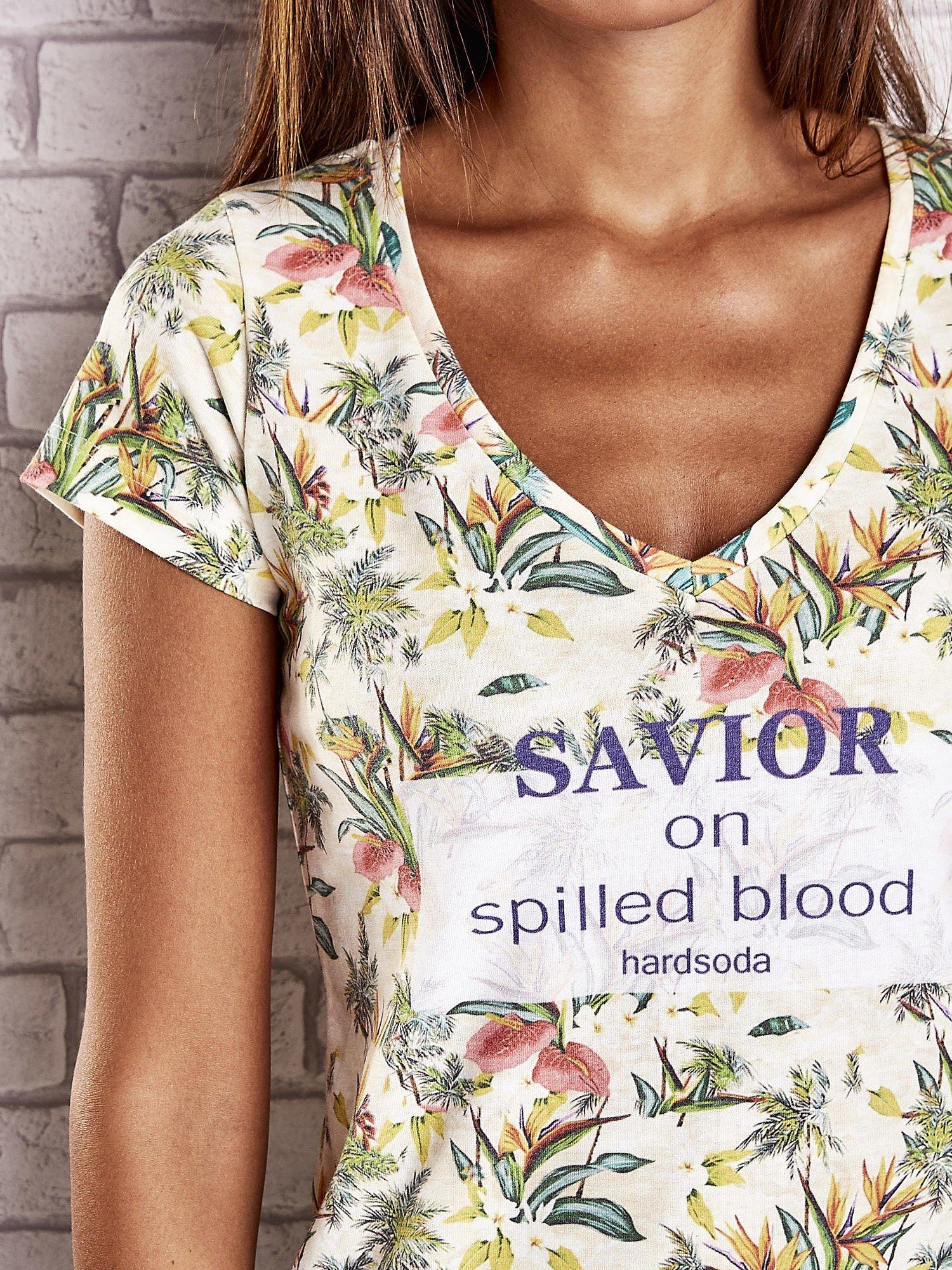 Żółty t-shirt z kwiatowym motywem i napisami                                  zdj.                                  5