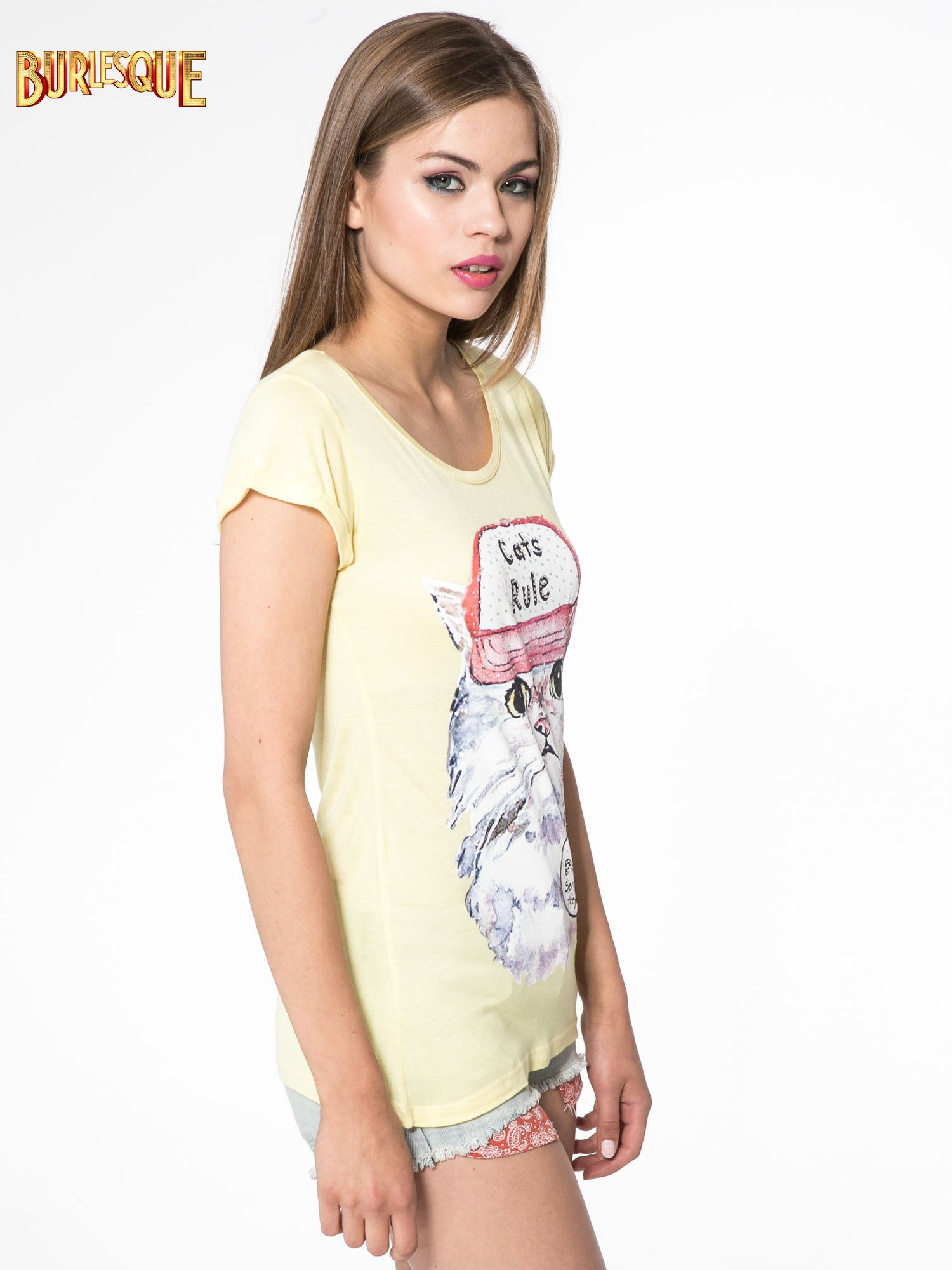 Żółty t-shirt z nadrukiem kota i napisem CATS RULE                                  zdj.                                  3