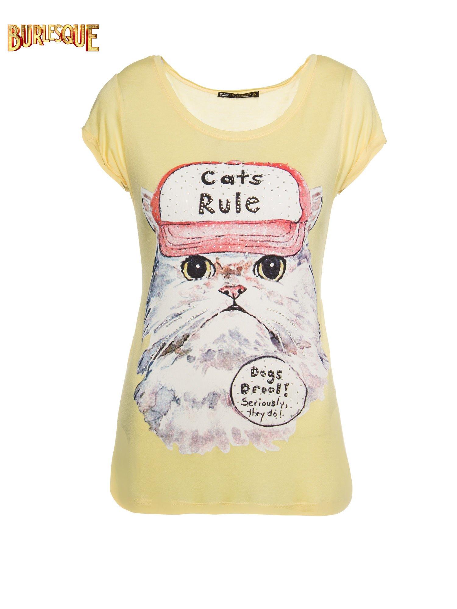 Żółty t-shirt z nadrukiem kota i napisem CATS RULE                                  zdj.                                  1