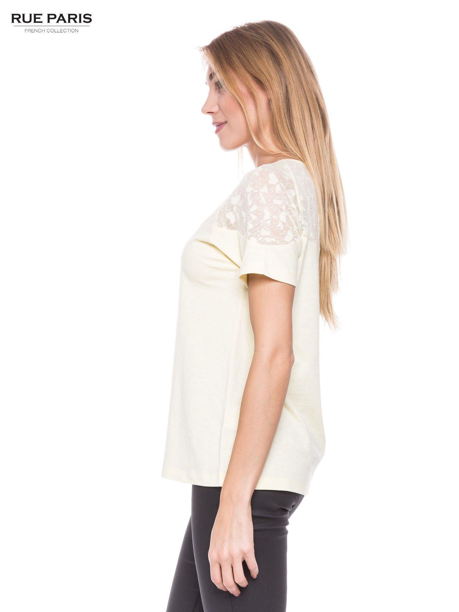 Żółty t-shirt z transparentną górą w kokardki                                  zdj.                                  2