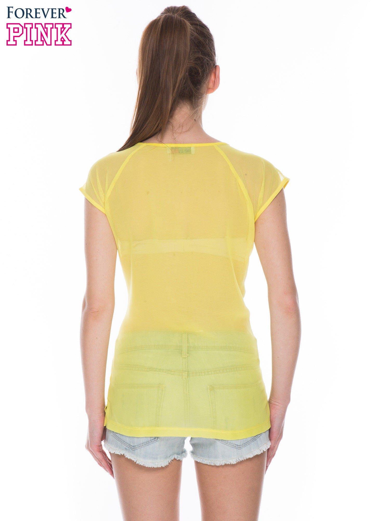Żółty t-shirt z transparentnym tyłem                                  zdj.                                  3