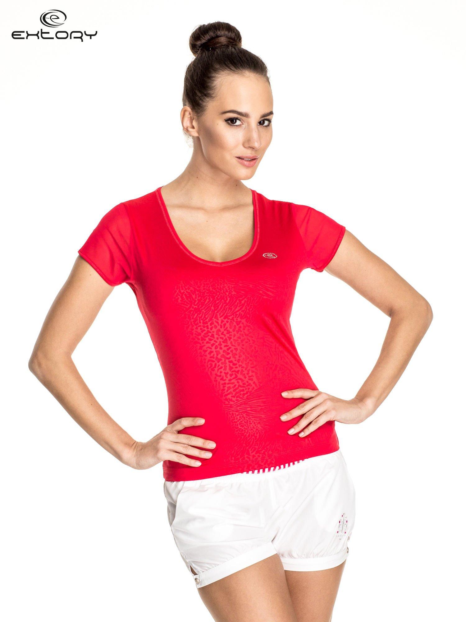 Żyworóżowy panterkowy t-shirt sportowy PLUS SIZE                                  zdj.                                  1