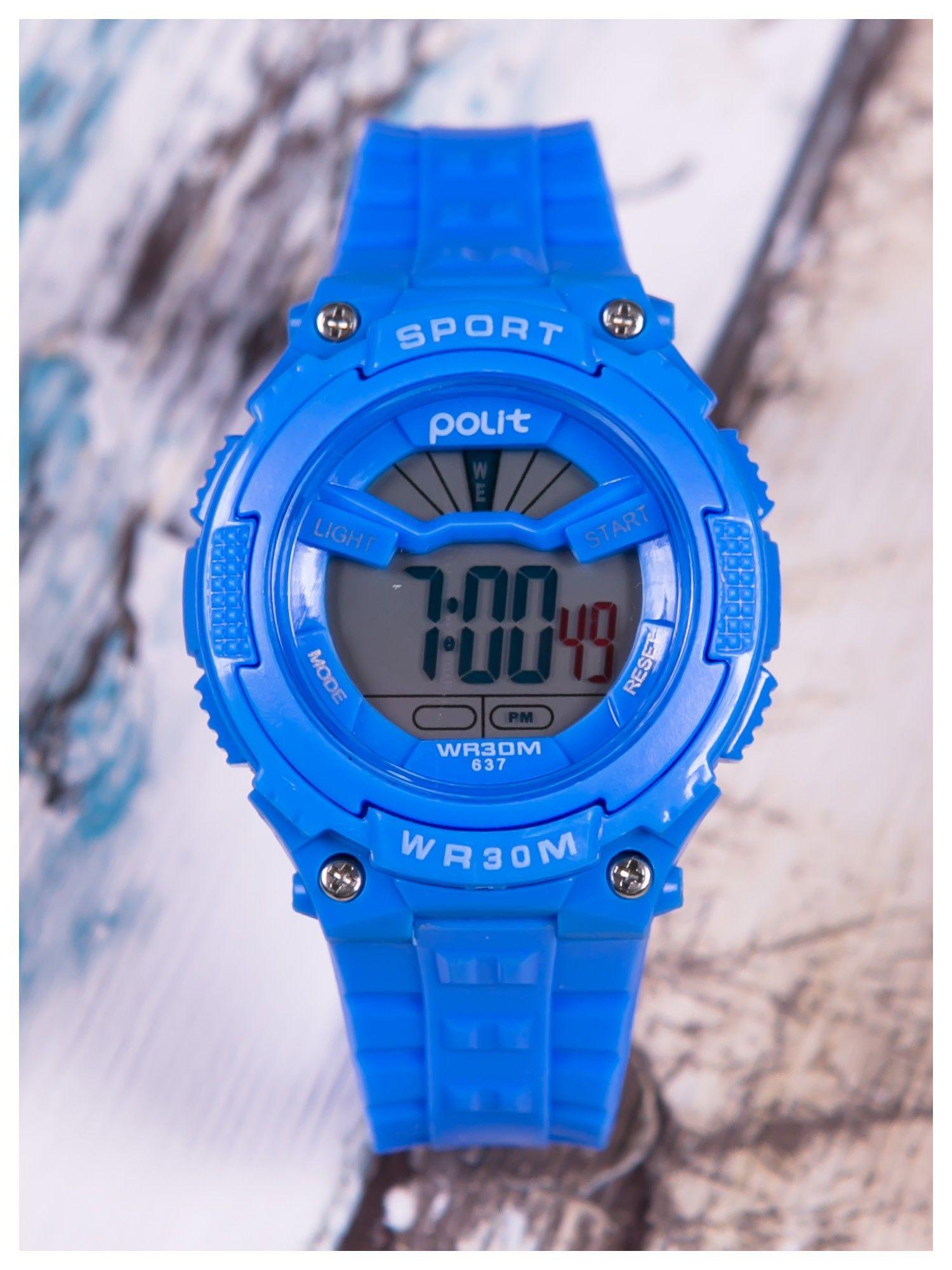 7d3aa30c59049f sportowy niebieski zegarek z tarczą poświetlaną na 2 kolory,WR30,alarm.  Wygodny silikonowy pasek. - Mężczyźni zegarek męski - sklep eButik.pl