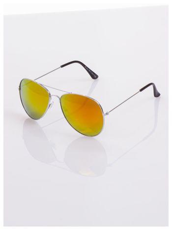AVIATORY srebrne okulary pilotki lustrzanki czerwono/pomarańczowe                                  zdj.                                  1