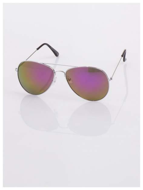 AVIATORY srebrne okulary pilotki lustrzanki fioletowe                                  zdj.                                  3