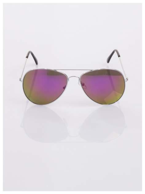AVIATORY srebrne okulary pilotki lustrzanki fioletowe                                  zdj.                                  1