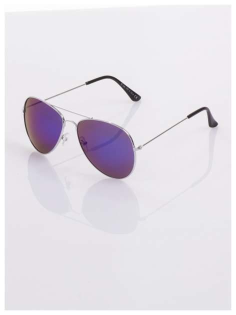 AVIATORY srebrne okulary pilotki lustrzanki niebieskie                                  zdj.                                  1