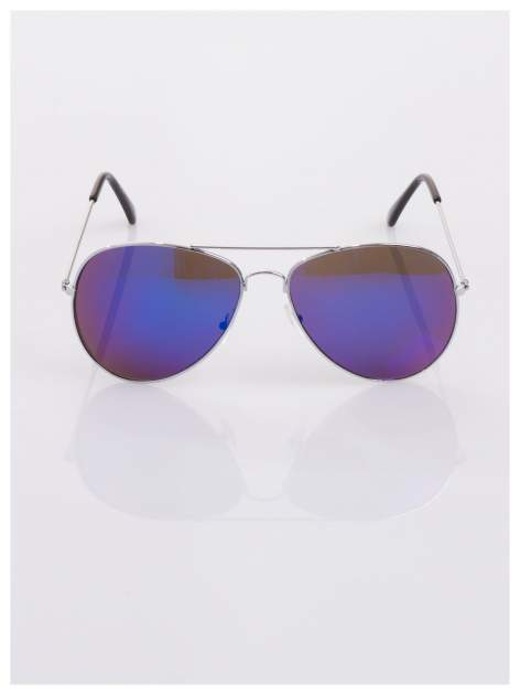 AVIATORY srebrne okulary pilotki lustrzanki niebieskie                                  zdj.                                  3