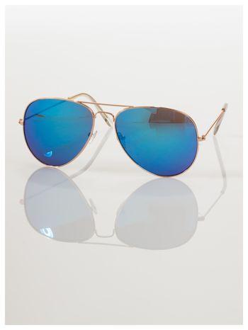 AVIATORY złote okulary pilotki lustrzanki niebieskie                                  zdj.                                  2