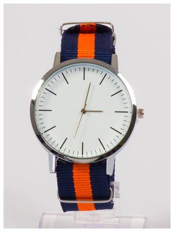 Nowoczesny i elegancki zegarek unisex granatowo-pomarańczowy. Doskonały na każdą okazję.                                  zdj.                                  1