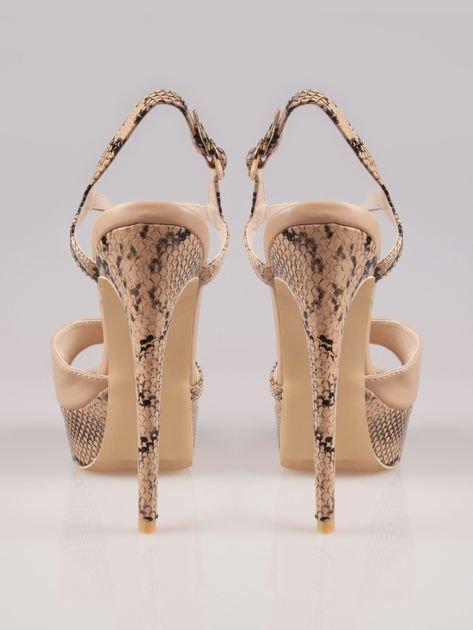 Beżowe wężowe sandały na szpilce Amber zapinane na kostce                                  zdj.                                  3