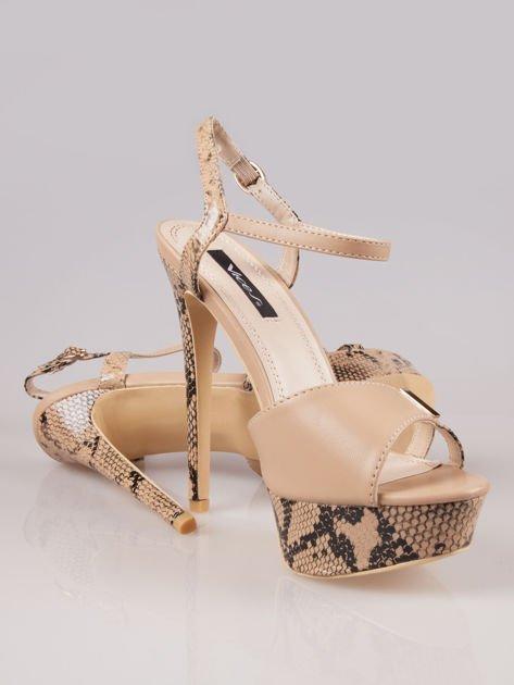 Beżowe wężowe sandały na szpilce Amber zapinane na kostce                                  zdj.                                  4