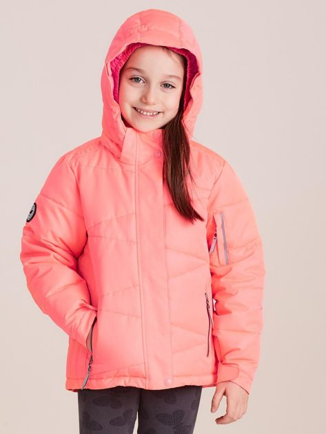 4F Neonowa koralowa pikowana kurtka narciarska dla dziewczynki                              zdj.                              2