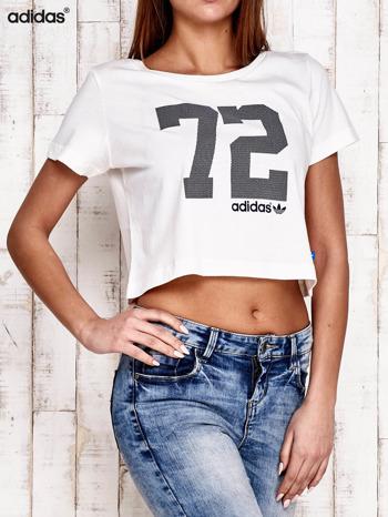 ADIDAS Ecru krótki t-shirt z nadrukiem                                   zdj.                                  2