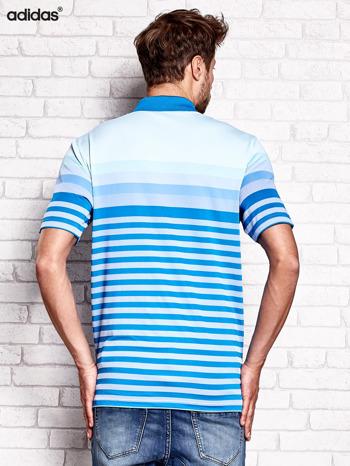 ADIDAS Niebieska koszulka polo męska w paski                                  zdj.                                  3