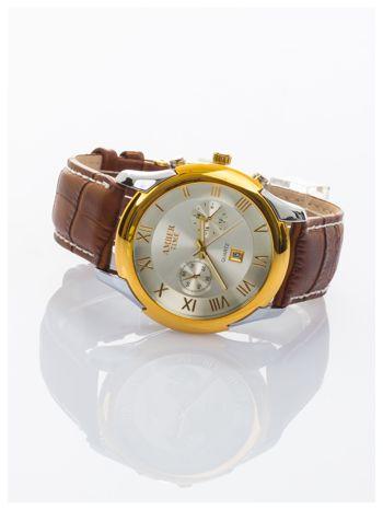 AMBER TIME Klasyczny męski zegarek. Skórzany pasek. Datownik.                                   zdj.                                  2