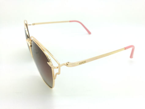 ASPEZO Okulary przeciwsłoneczne POLARYZACYJNE damskie złote SEUL Etui skórzane, etui miękkie oraz ściereczka z mikrofibry w zestawie                              zdj.                              2