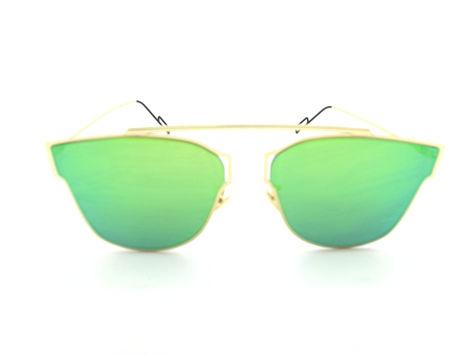 ASPEZO Okulary przeciwsłoneczne damskie zielono-złote HAWAII. Etui skórzane, etui miękkie oraz ściereczka z mikrofibry w zestawie                              zdj.                              1