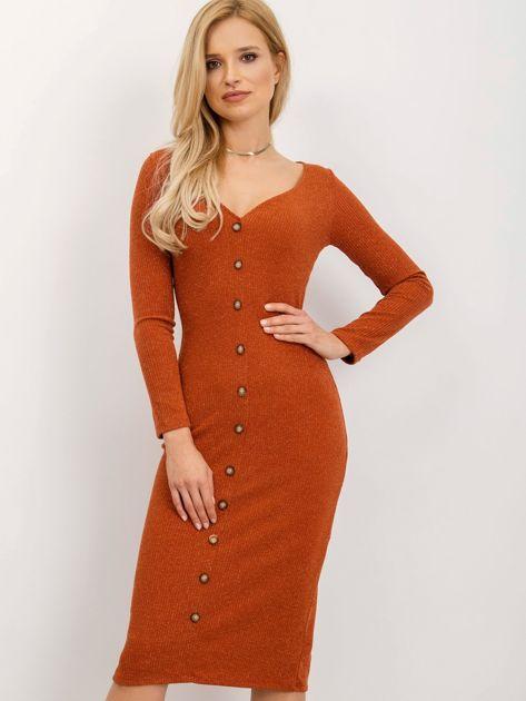 BSL Ceglasta sukienka z guzikami                              zdj.                              1