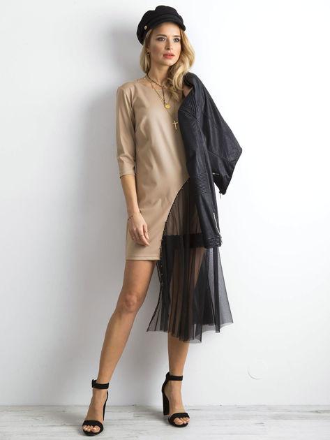 BY O LA LA Beżowa asymetryczna sukienka                              zdj.                              4