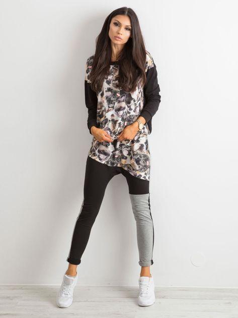 BY O LA LA Czarno-szare spodnie z nadrukiem                              zdj.                              4