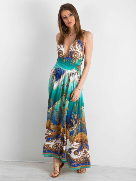 BY O LA LA Zielono-niebieska sukienka we wzory                              zdj.                              4