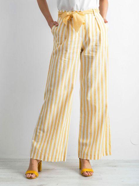 BY O LA LA Żółte spodnie w paski