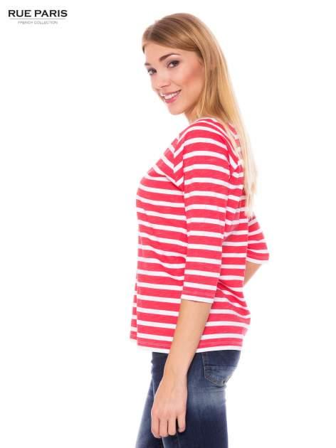 Bawełniana bluzka w biało-koralowe paski w stylu marynistycznym                                  zdj.                                  2