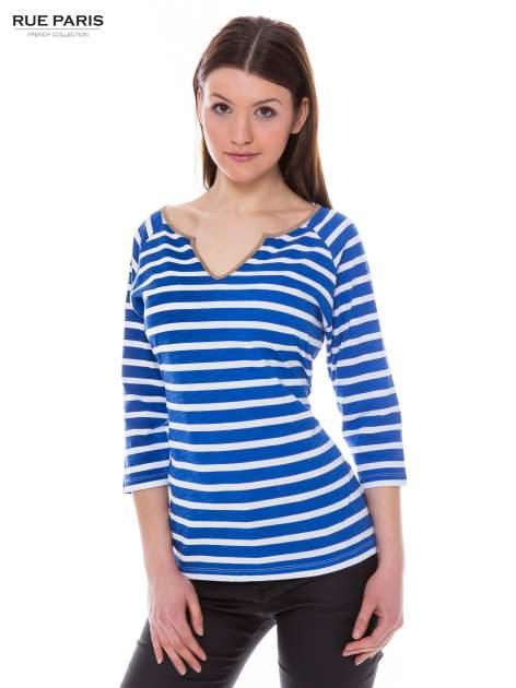 Bawełniana bluzka w biało-niebieskie paski w stylu marynistycznym                                  zdj.                                  1